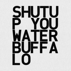 Ultrapulp Alpha, shut up water buffalo. Estampe typographique contemporaine originale signée.La série Alpha emprunte ses sources à la littérature, à l'histoire, au monde des affaires et de l'entreprise ou encore au langage de la pop culture. Cette édition limitée tiré à partsur toile par l'artiste, utilise une grille et l'emploi d'intervalles inattendus entre les mots et les lettres pour créer une rupture de sens.